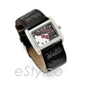 Hello Kitty Cuff Watch Square Dial Black